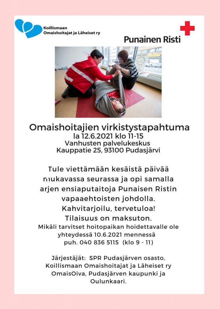 Omaishoitajien virkistystapahtuma Pudasjärvi 12.6.2021 klo 11 - 15 Vanhusten palvelukeskus
